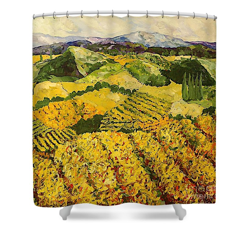 Landscape Shower Curtain featuring the painting Sun Harvest by Allan P Friedlander