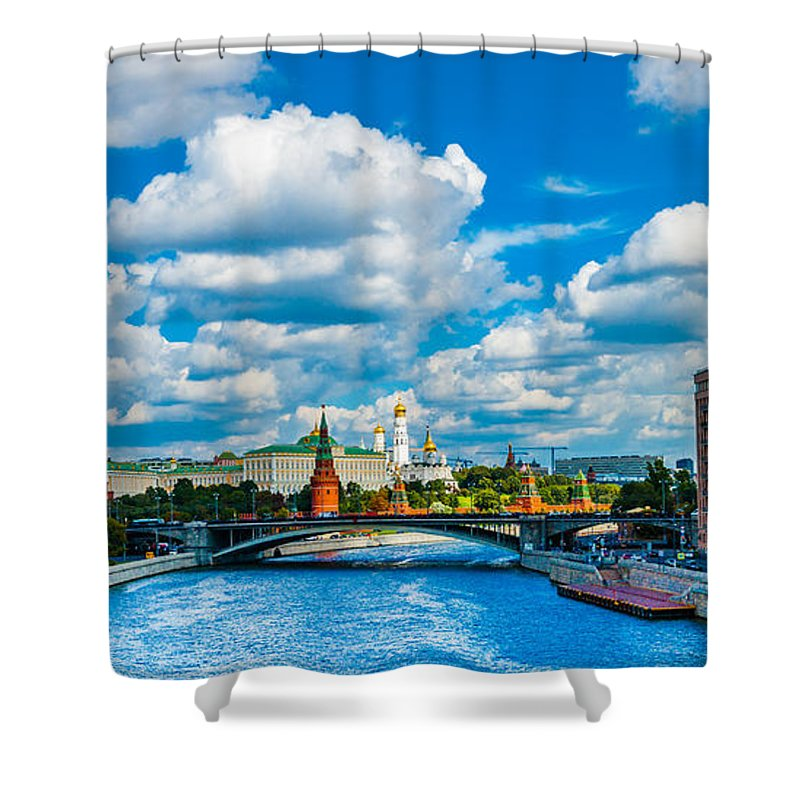 Moscow Shower Curtain featuring the photograph Sun Over The Old Cathedrals Of Moscow Kremlin by Alexander Senin