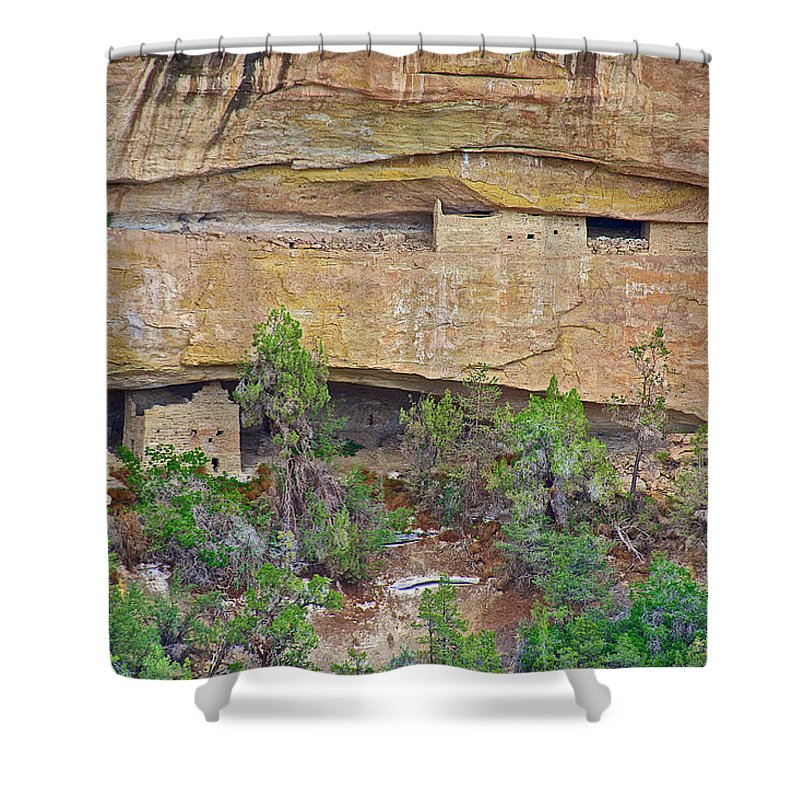 Sun Point Pueblo View-1200-1300 Ad On Chapin Mesa Top Loop Road In Mesa Verde National Park Shower Curtain featuring the photograph Sun Point Pueblo View-12-1300 Ad On Chapin Mesa Top Loop Road In Mesa Verde National Park-colorado by Ruth Hager