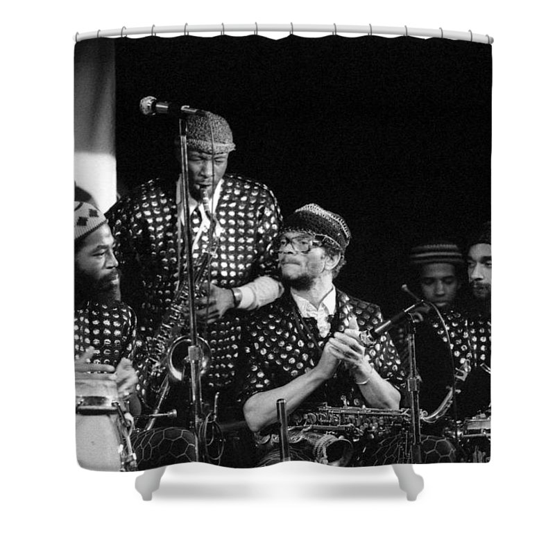 Jazz Shower Curtain featuring the photograph Sun Ra Arkestra With John Gilmore by Lee Santa