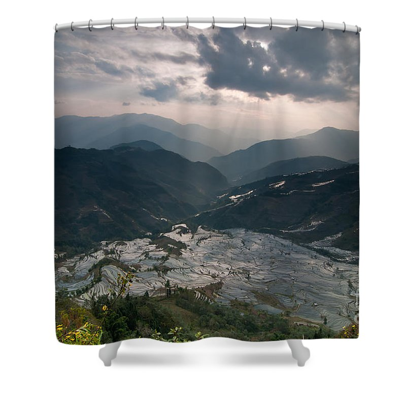 Agriculture Shower Curtain featuring the photograph Sun Ray Over Rice Terrace Filed by Kim Pin Tan