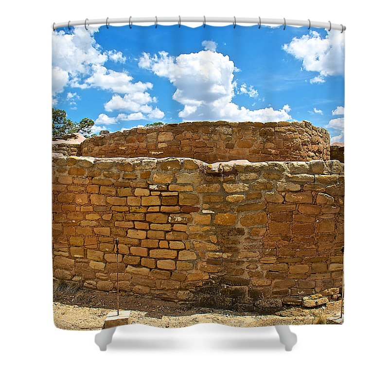 Sun Temple-1250 Ad In Mesa Verde National Park Shower Curtain featuring the photograph Sun Temple-1250 Ad In Mesa Verde National Park-colorado by Ruth Hager