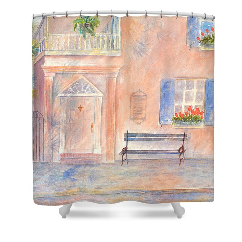 Charleston; Low Country; Palmetto Tree Shower Curtain featuring the painting Sunday Morning In Charleston by Ben Kiger