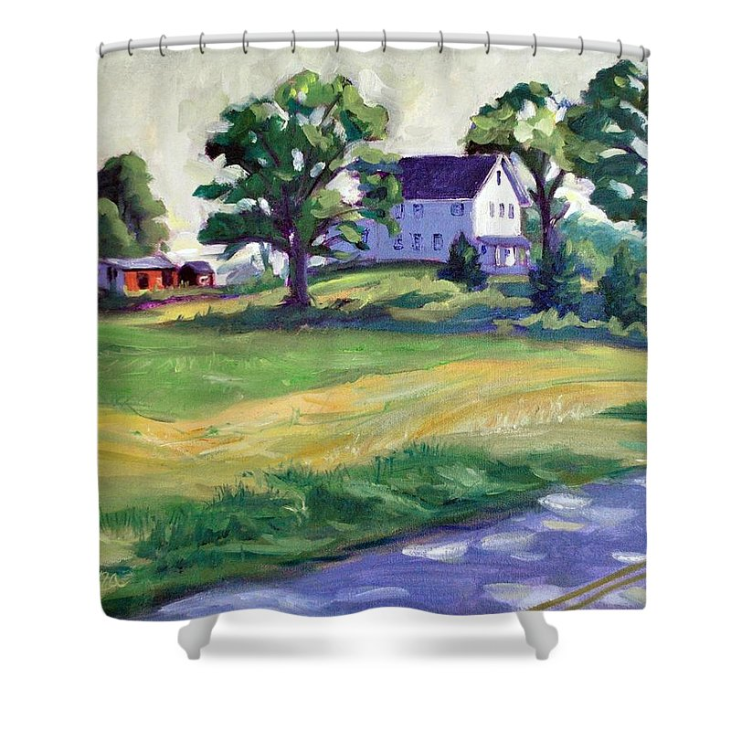 The Wasniewski Farm Shower Curtain featuring the painting Sunday Morning by Sylvina Rollins
