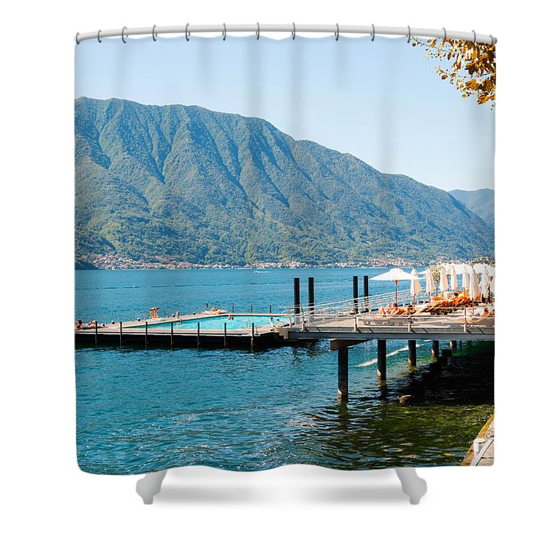 Photography Shower Curtain featuring the photograph Sundeck And Floating Pool At Grand by Panoramic Images