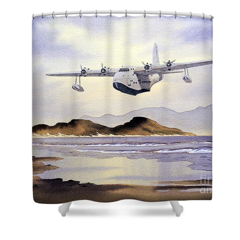 Aircraft Paintings Shower Curtain featuring the painting Sunderland Over Scotland by Bill Holkham