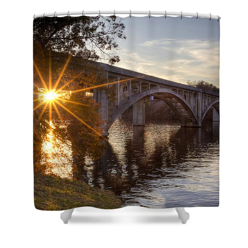 Lake Shower Curtain featuring the photograph Sundown Bridge by Jackie Frick Smith