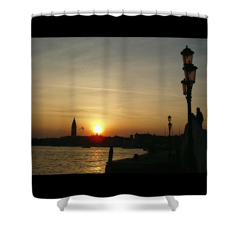 Sundown In Venice Shower Curtain featuring the photograph Sundown In Venice by Ellen Henneke