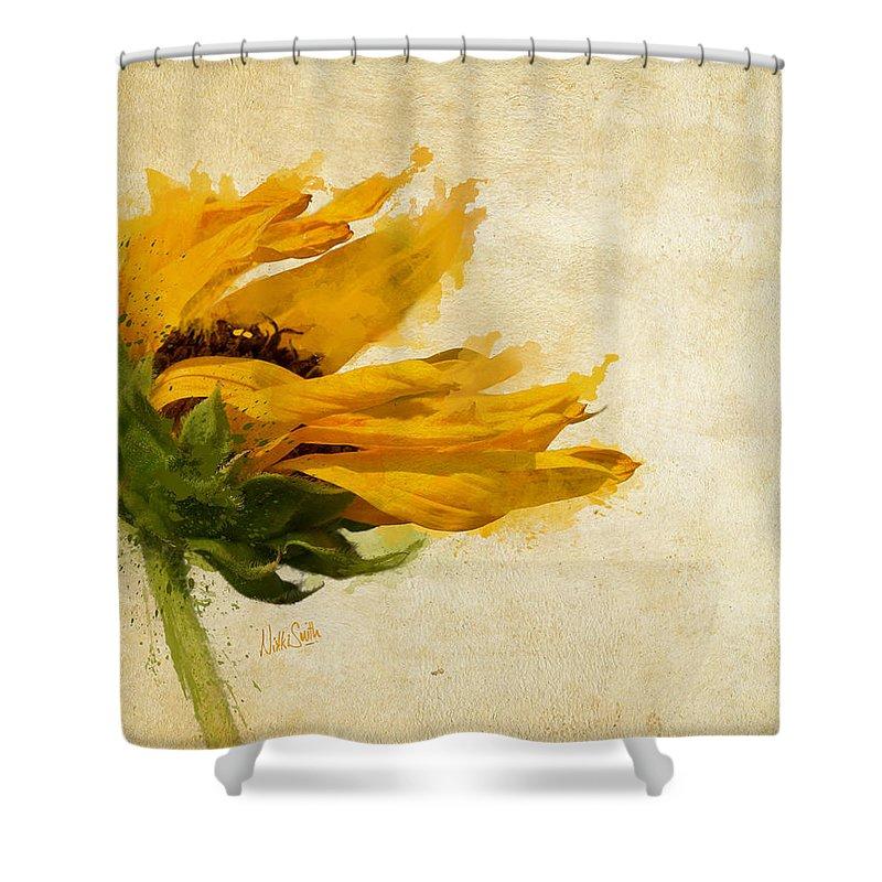 Sunflower Shower Curtain Featuring The Digital Art Breezes By Nikki Marie Smith