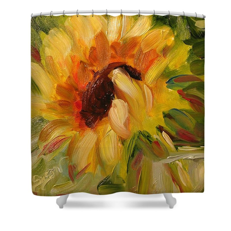 Floral Shower Curtain featuring the painting Sunflower Morning by Susan Elizabeth Jones