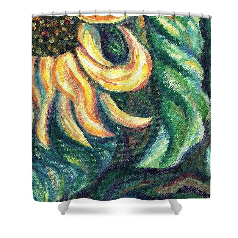 Flower Shower Curtain featuring the painting Sunflower One Panel Four Of Four by Linda Mears