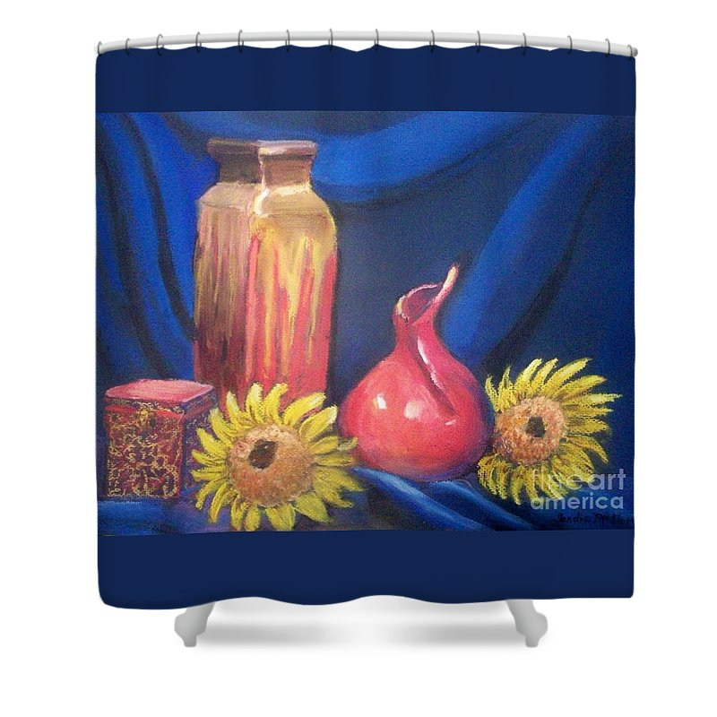 Still Life Shower Curtain featuring the pastel Sunflower Serenade by Sandra McClure