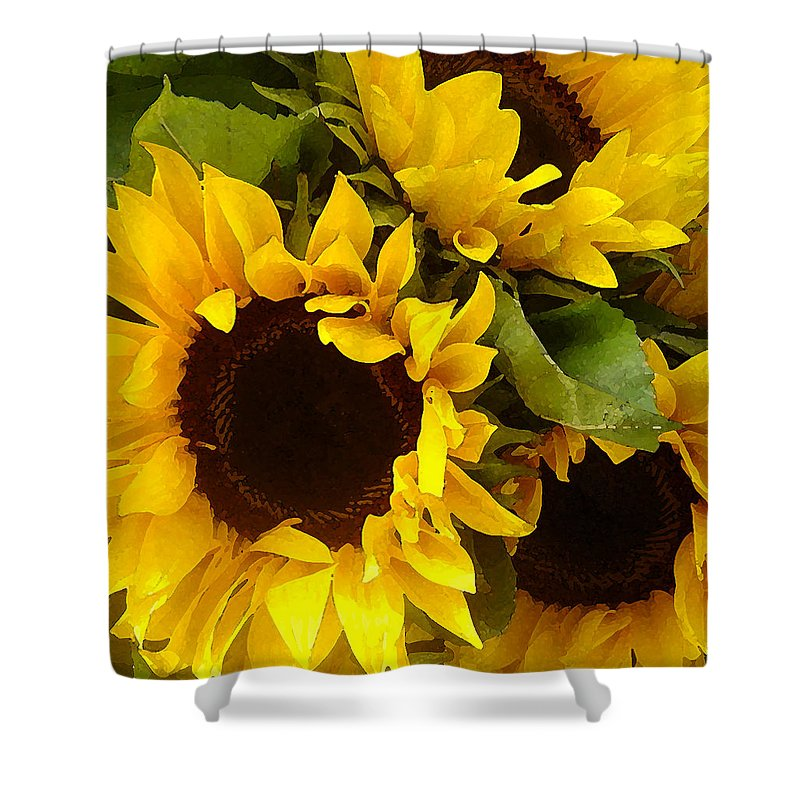 Sunflowers Shower Curtain featuring the painting Sunflowers by Amy Vangsgard