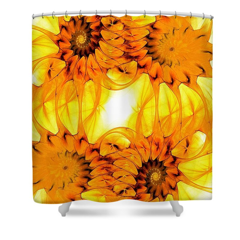 Malakhova Shower Curtain featuring the digital art Sunflowers by Anastasiya Malakhova