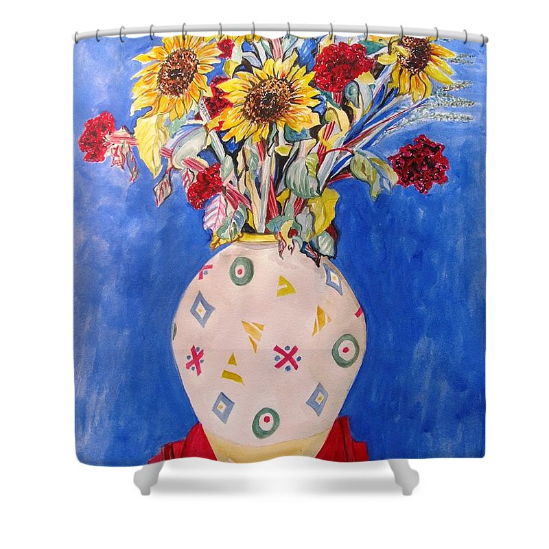 Sunflowers At Home Shower Curtain featuring the painting Sunflowers At Home by Esther Newman-Cohen