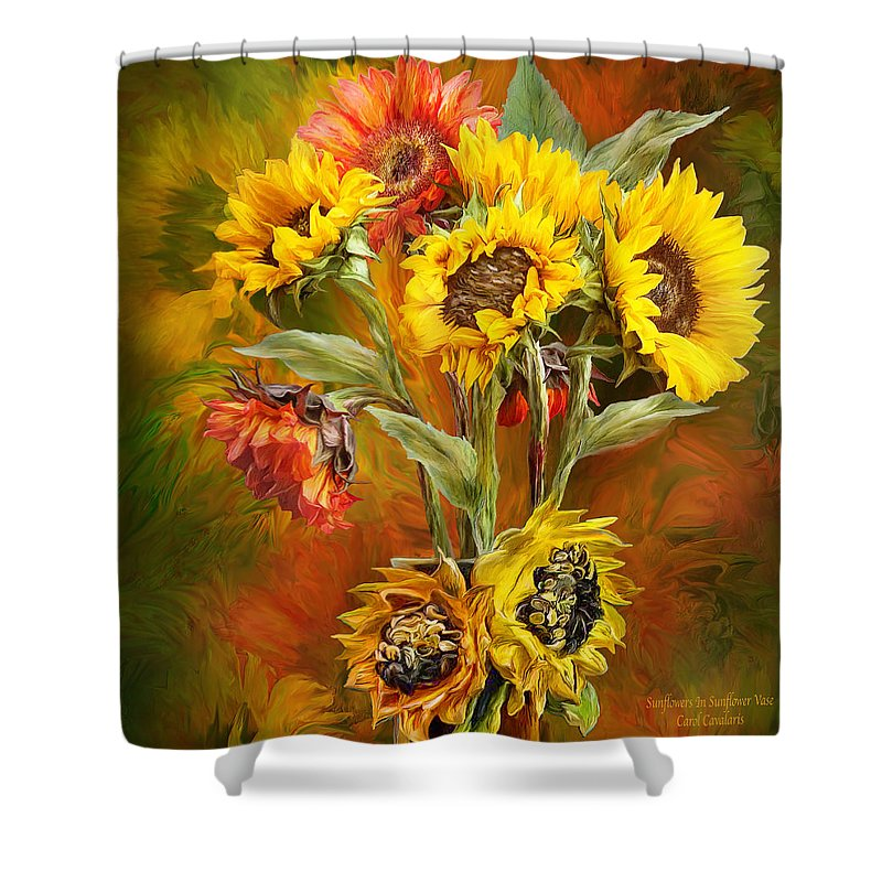 Sunflowers In Sunflower Vase Square Shower Curtain For Sale By