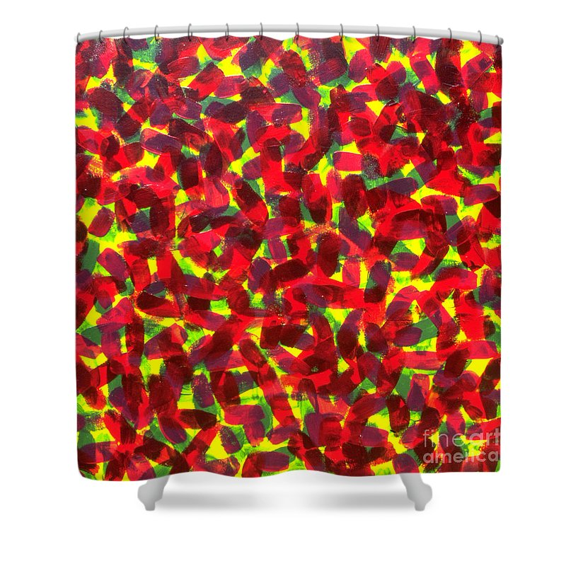 Abstract Shower Curtain featuring the painting Sunlight Through The Trees by Dean Triolo