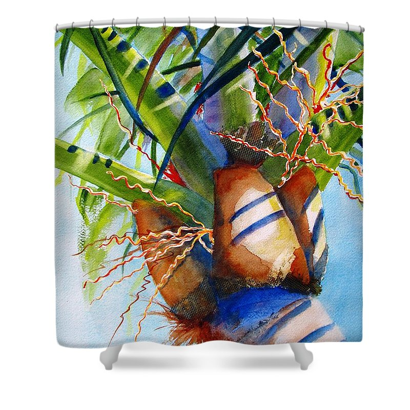 Palm Tree Shower Curtain featuring the painting Sunlit Palm by Carlin Blahnik CarlinArtWatercolor