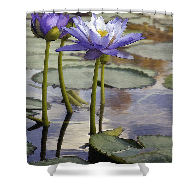 Flower Shower Curtain featuring the photograph Sunlit Purple Lilies by Sharon Foster