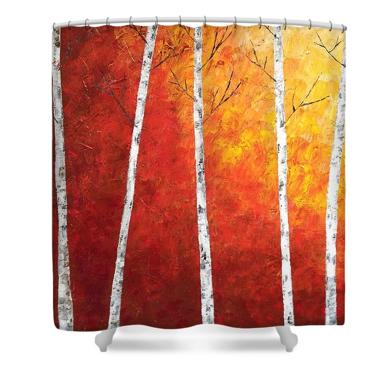 Sunny Shower Curtain featuring the painting Sunset Birches by Judith Cahill