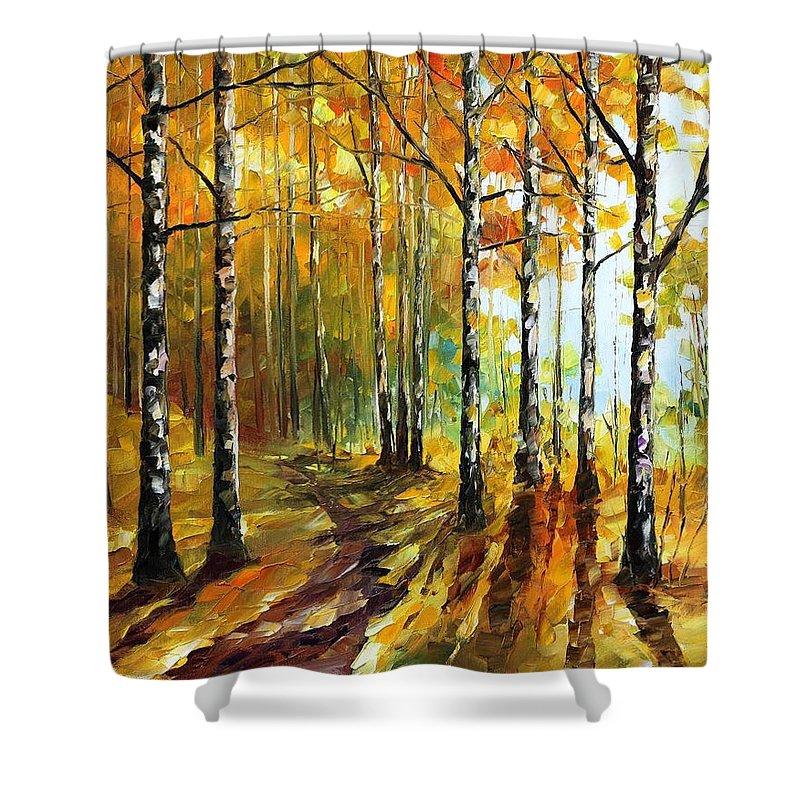 Oil Paintings Shower Curtain featuring the painting Sunny Birches - Palette Knife Oil Painting On Canvas By Leonid Afremov by Leonid Afremov