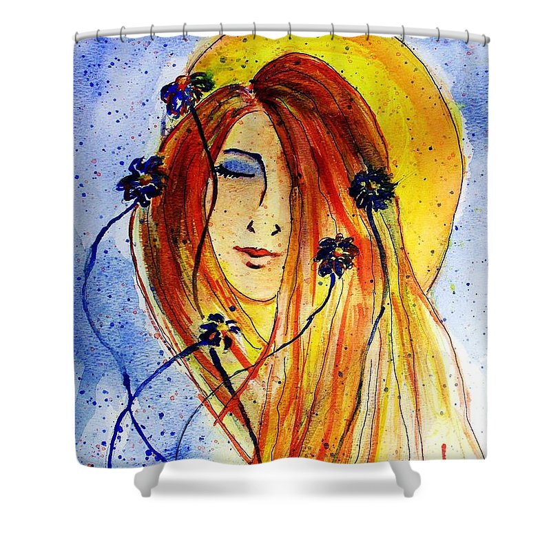Face Shower Curtain featuring the painting Sunny Disposition by Robin Monroe