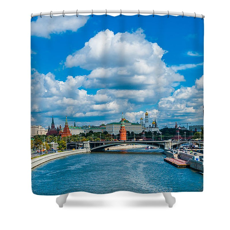 Moscow Shower Curtain featuring the photograph Sunny River And Moscow Kremlin by Alexander Senin