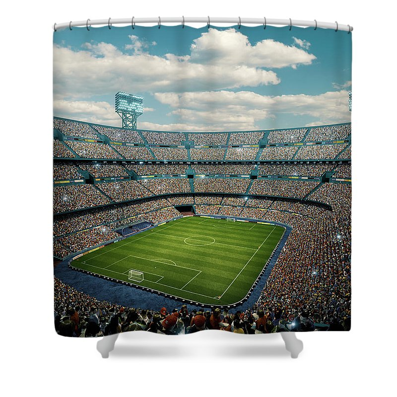 Event Shower Curtain featuring the photograph Sunny Soccer Stadium Panorama by Dmytro Aksonov