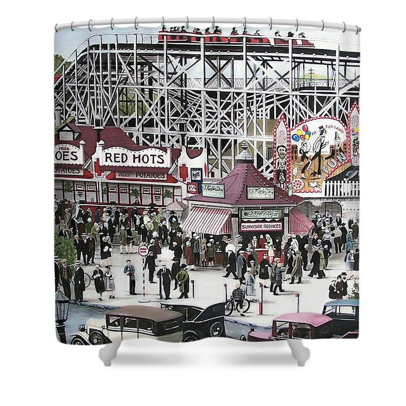 Streetscapes Shower Curtain featuring the painting Sunnyside Park by Kenneth M Kirsch