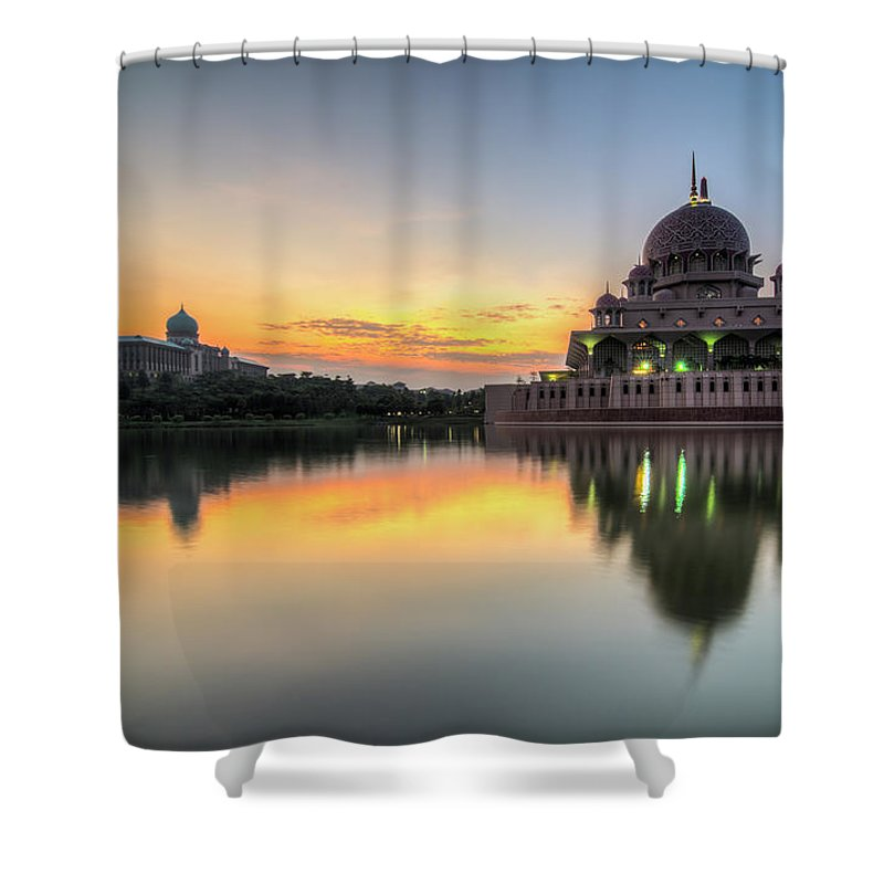 Tranquility Shower Curtain featuring the photograph Sunrise   Masjid Putra, Putrajaya   Hdr by Mohamad Zaidi Photography