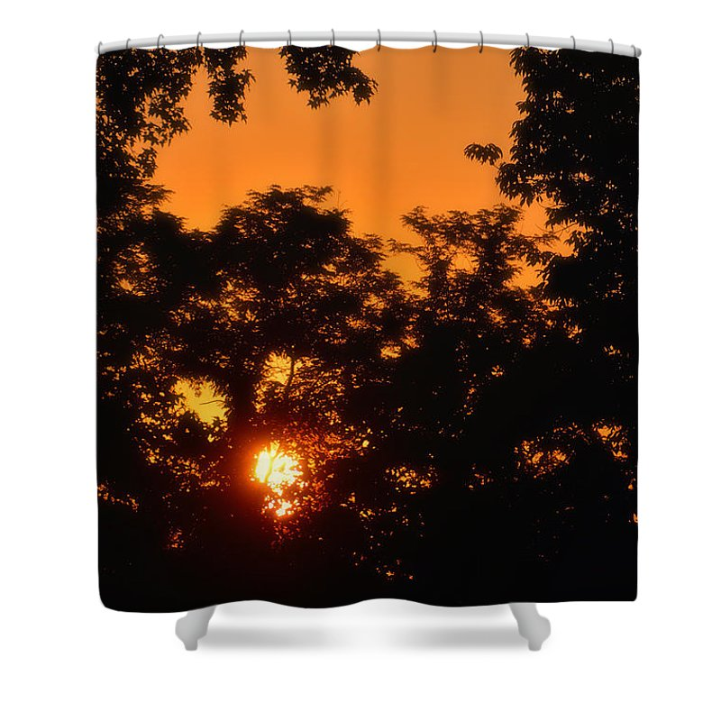 Sun Shower Curtain featuring the photograph Sunrise Argyle Lake State Park by Thomas Woolworth