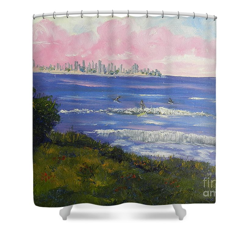 Impressionism Shower Curtain featuring the painting Sunrise At Burliegh Heads by Pamela Meredith