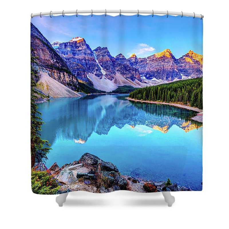 Tranquility Shower Curtain featuring the photograph Sunrise At Moraine Lake by Wan Ru Chen