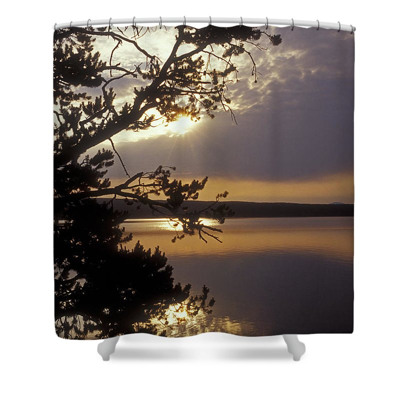 Yellowstone Shower Curtain featuring the photograph Sunrise At Yellowstone Lake by Sandra Bronstein