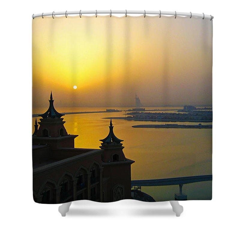 #sunrise #dubai #atlantis #contemporaryart #uae #ocean #streetart #abudhabi #zazzle #photog #togs #fineart #deals Shower Curtain featuring the photograph Sunrise Dubai by Steve Lipson