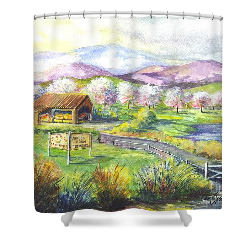Watercolor Shower Curtain featuring the painting Sunrise Farm Stand by Carol Wisniewski