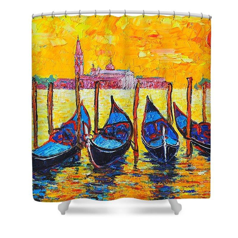 Venice Shower Curtain featuring the painting Sunrise In Venice Italy Gondolas And San Giorgio Maggiore by Ana Maria Edulescu