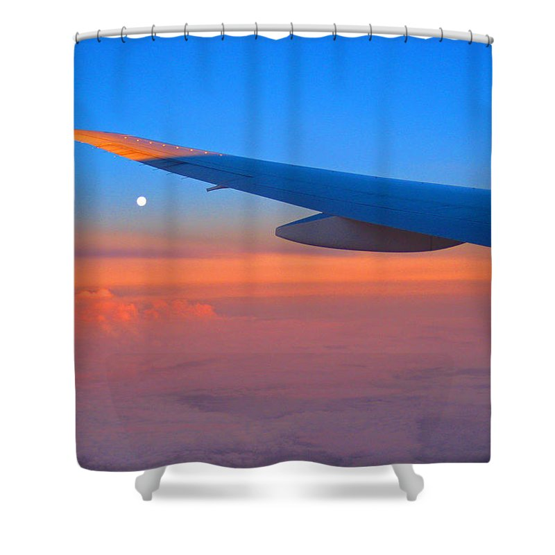 #sunrise #middleeast #airplane #contemporaryart #modernart #streetart #zazzle #photog #togs #fineart #deals Shower Curtain featuring the photograph Sunrise Middle East by Steve Lipson