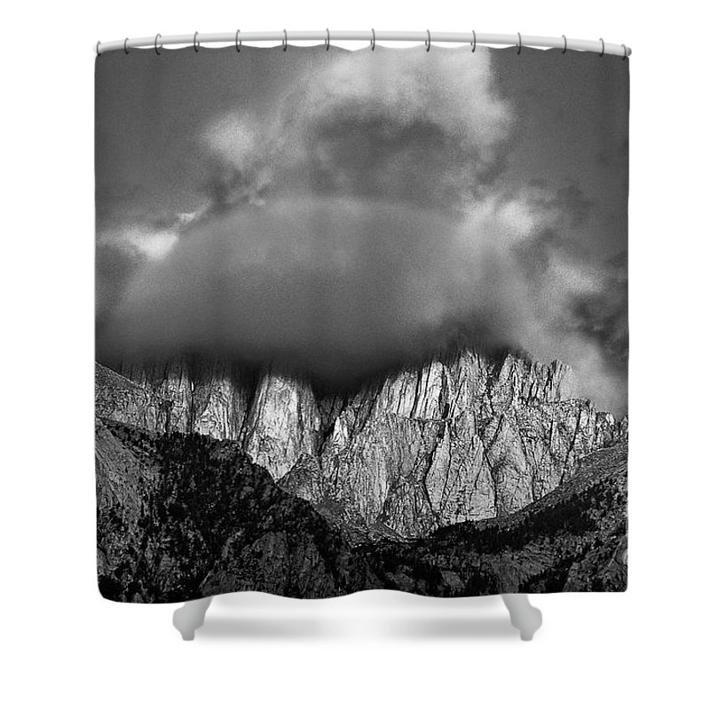 North America Shower Curtain featuring the photograph Sunrise On Mount Whitney Eastern Sierras California by Dave Welling