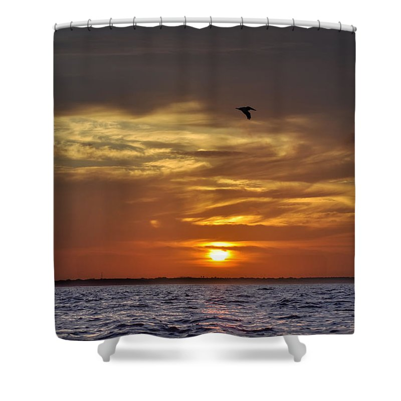 Sunrise Shower Curtain featuring the photograph Sunrise On Tampa Bay by Bill Cannon