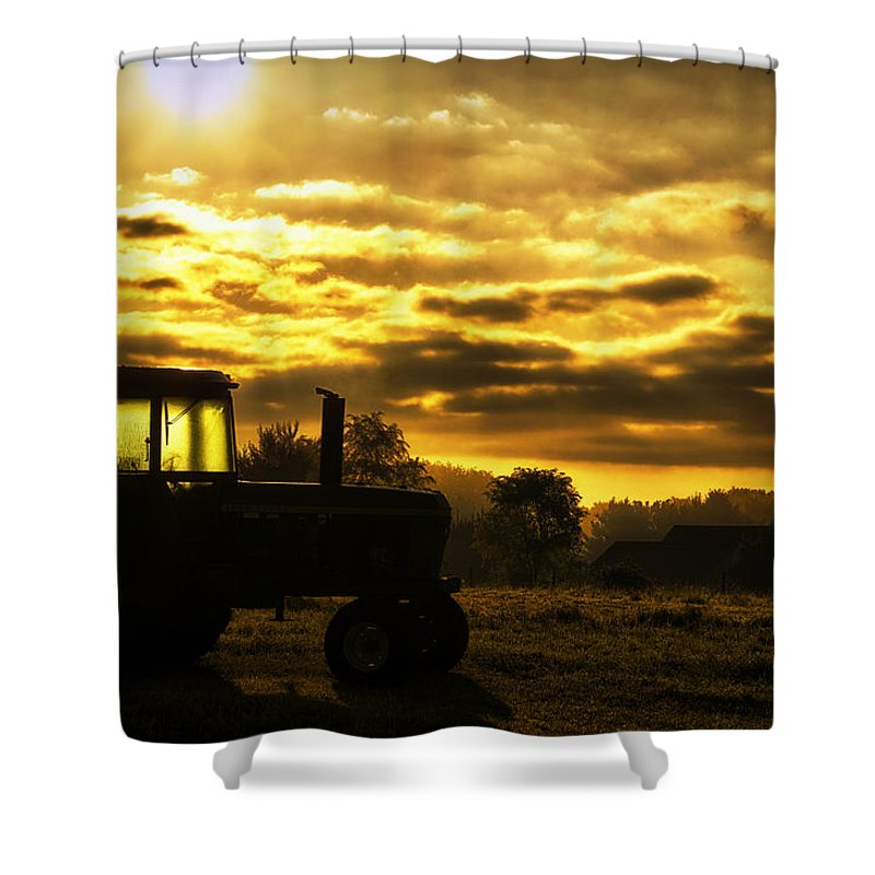 John Deere Shower Curtain featuring the photograph Sunrise On The Deere by Thomas Woolworth