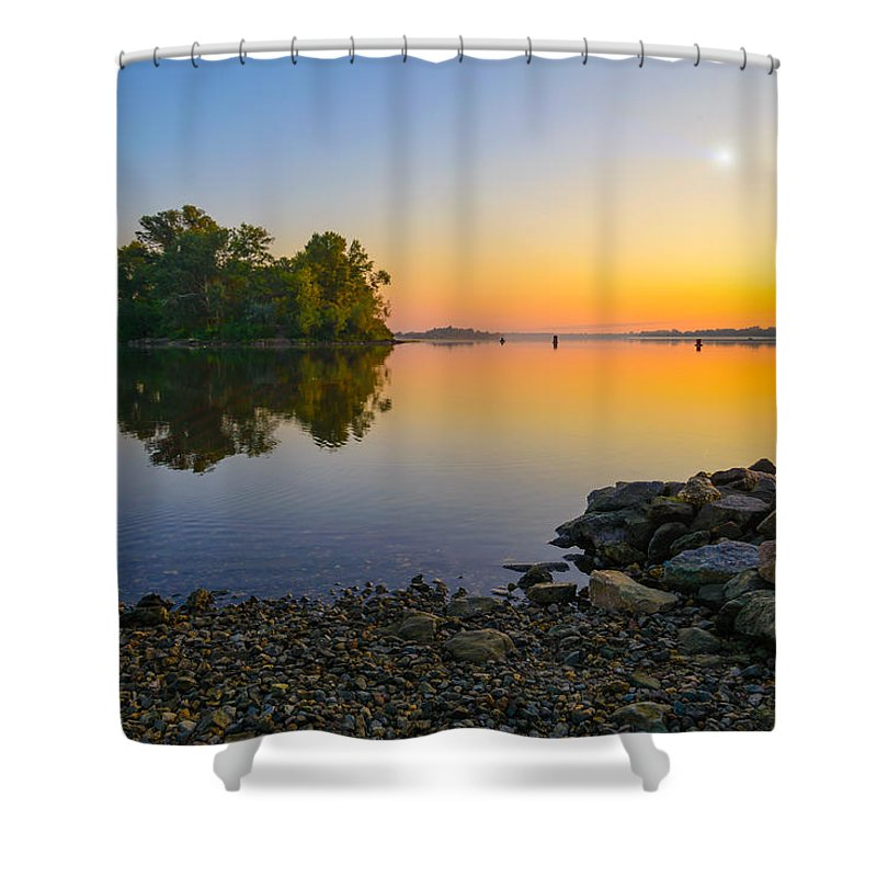Dnieper Shower Curtain featuring the photograph Sunrise On The River by Alain De Maximy
