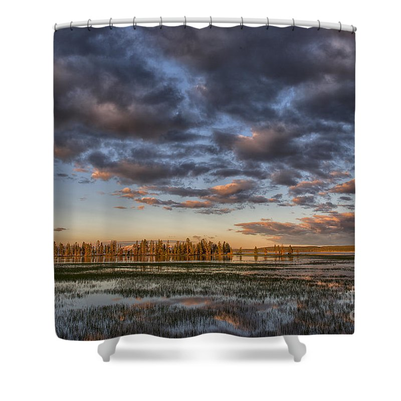 Sunrise;yellowstone;lake;waterscape;national;park;clouds;morning;dawn;reflections;reflection;island;trees;iconic;travel;tourism;popular; Shower Curtain featuring the photograph Sunrise On Yellowstone Lake by Sandra Bronstein