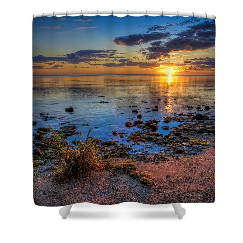 Sun Shower Curtain featuring the photograph Sunrise over Lake Michigan by Scott Norris