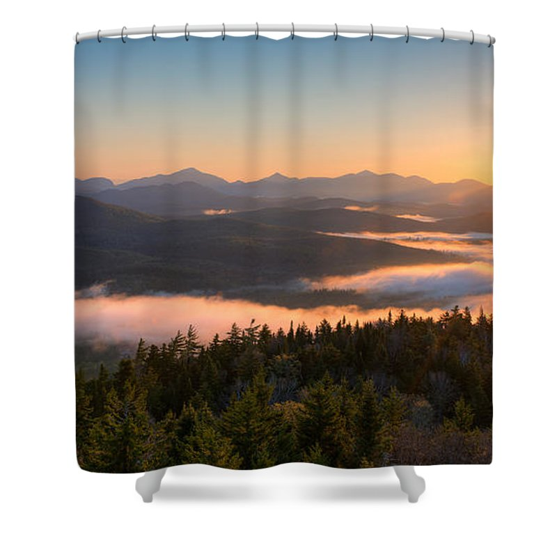 Photography Shower Curtain Featuring The Photograph Sunrise Over Adirondack High Peaks By Panoramic Images