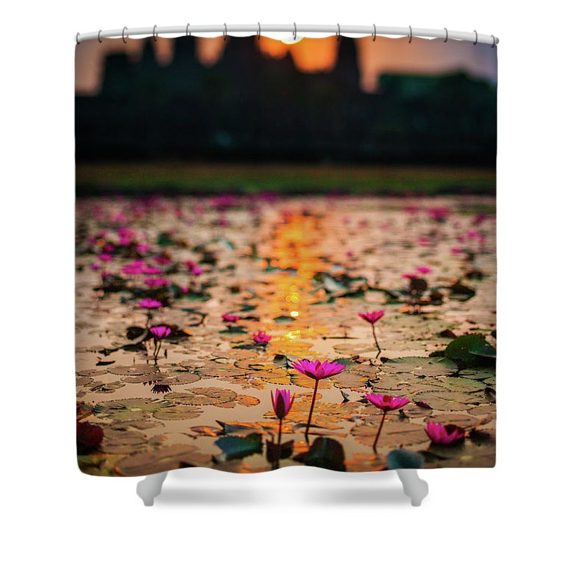 Tranquility Shower Curtain featuring the photograph Sunrise Over The Lotus Flowers Of by © Francois Marclay
