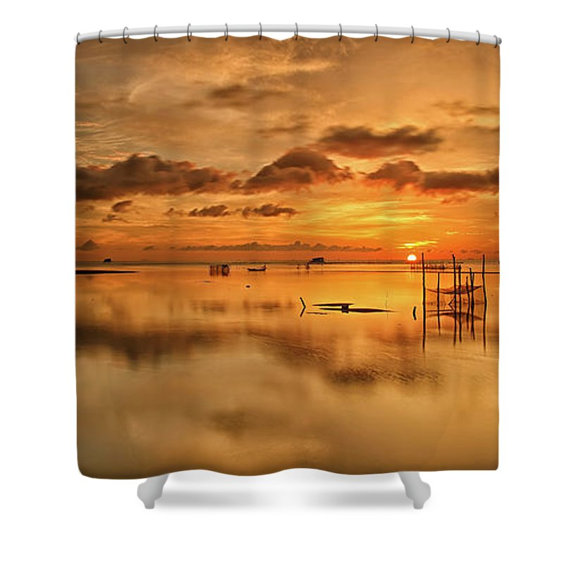 Scenics Shower Curtain featuring the photograph Sunrise, Phu Quoc, Vietnam by Huyenhoang