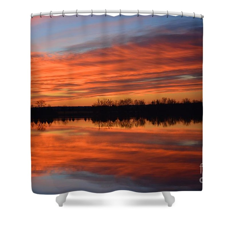 Sunrise Shower Curtain featuring the photograph Sunrise Reflections by Deanna Cagle