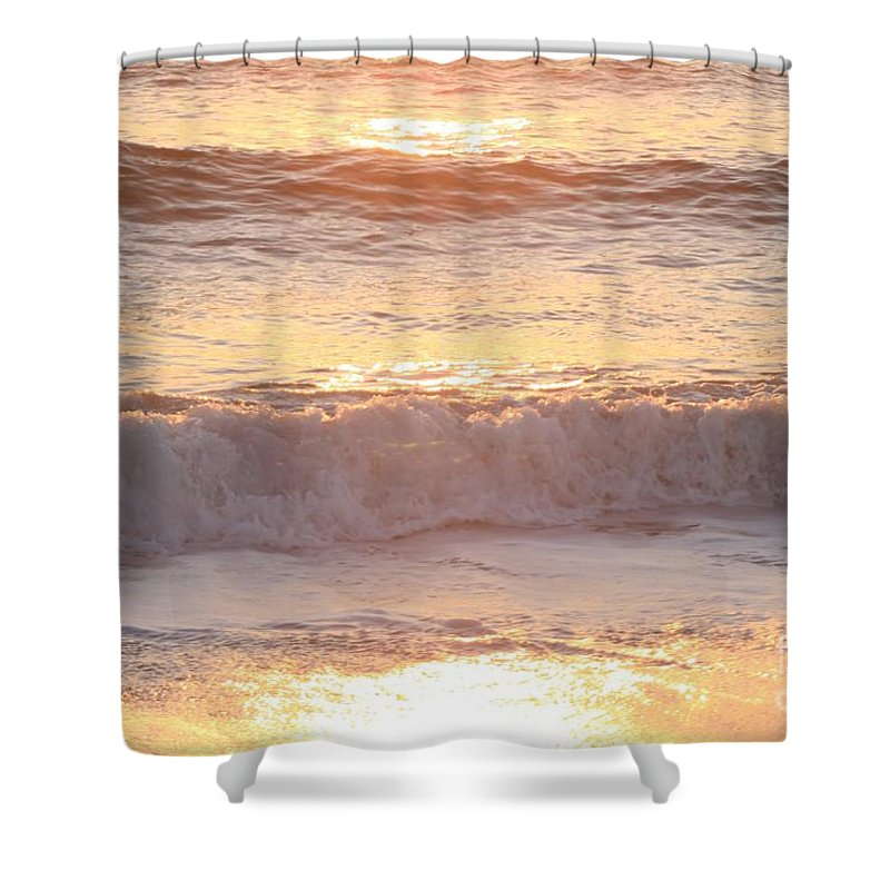 Waves Shower Curtain featuring the photograph Sunrise Waves by Nadine Rippelmeyer