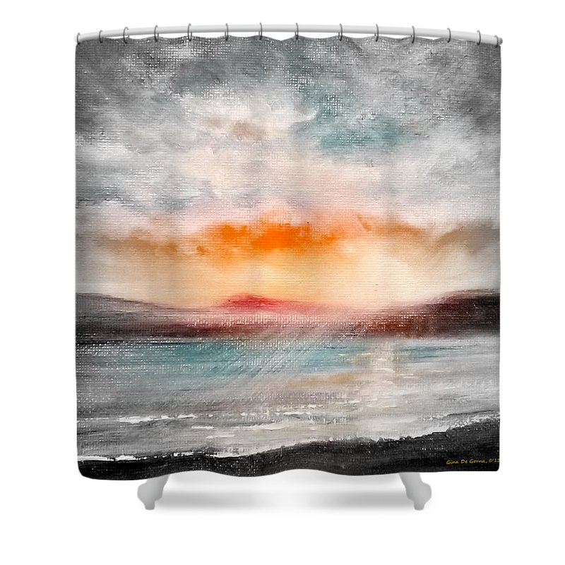Landscapes Shower Curtain featuring the painting Sunset 111 by Gina De Gorna
